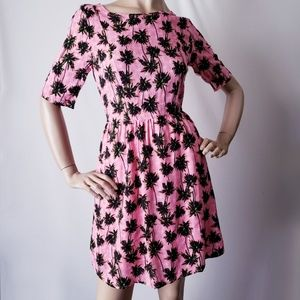 Teenplo Pink Palm Tree Print Dress Size Small